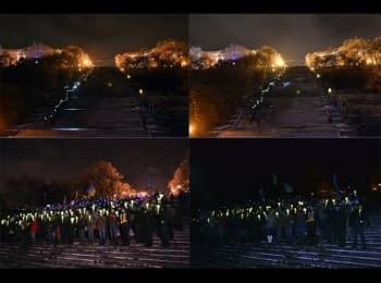 Одеса. Потьомкінські сходи. Ланцюг: Київ ми з тобою! / Odessa supports: Kiev we are with you!