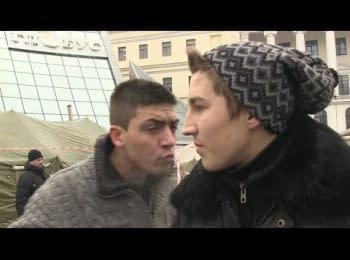 Активісти АнтиМайдану обідають на Євромайдані і кажуть, що приїхали за гроші