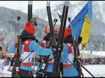 Українські біатлоністки при врученні їм золота: «Слава Україні! За Майдан!»