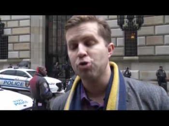 Протест українців під офісом Федеральної Резервної Системи США в Нью-Йорку