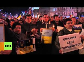 Czech Republic: Candlelit vigil held for Kiev's anti-government protesters