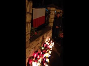 People gathered in Krakow to honor dead protesters of Euromaidan