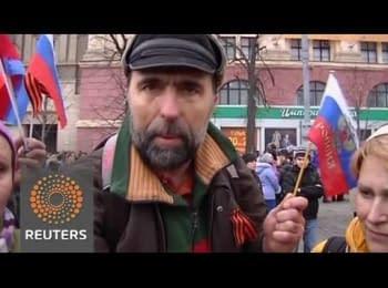 У той час, як конфлікт продовжує загострюватися, прихильники Росії вимагають возз'єднання