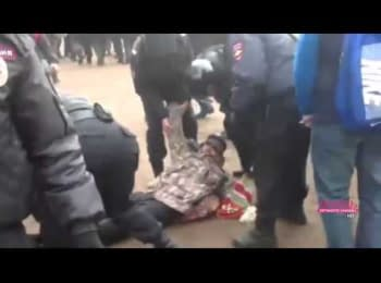 Protesters who came to stand against the Russian invasion to Ukraine were brutal arrested in the center of St. Petersburg March 2, 2014