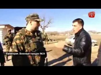 Russian military conversation with residents of Crimea