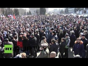 Пророссийский митинг в центре Донецка, 08.03.2014