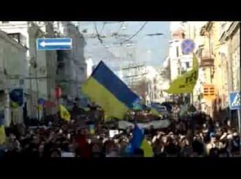 Kharkiv, March 9, 2014. Procession of the Euromaidan along Sumskaya Str