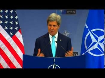 U.S. Secretary of State John Kerry delivers remarks to the press at NATO Headquarters in Brussels, Belgium on April 1, 2014