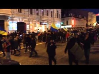 Kharkiv, April 12, 2014. Procession of the Euromaidan along Sumskaya Str