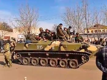 Supporters of Ukraine's federalization took control of six armored personnel carriers that participated in the military operation in Kramatorsk, on April 16, 2014