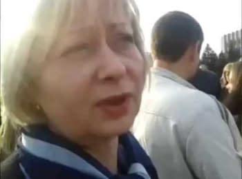 Проукраїнський мітинг у Горлівці Донецької області, 18.04.2014
