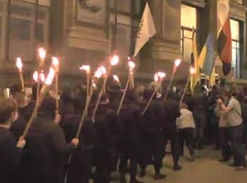 Kyiv, on April 29, 2014. Torch procession in honor of heroes of Heavenly Hundred and a mass fight on the Maydan