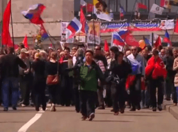 May Day demonstration in Donets'k, on May 1, 2014