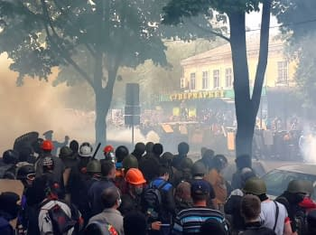 A mass fight in the center of Odessa, on May 2, 2014