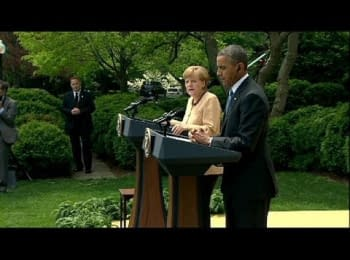 Barack Obama and Angela Merkel threatened tougher sanctions against Russia if the government fails to de-escalate the situation in Ukraine, on May 2, 2014