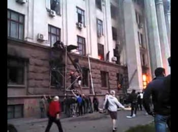 Pro-maidan activists rescue people from fire in House of Trade Unions. Odessa, 02.05.2014
