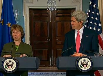 "U.S. Secretary of State John Kerry with EU High Representative Lady Catherine Ashton delivers remarks about preparing fictive ""referendum""in Donetsk region, on May 6, 2014"