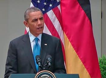 Президент США Барак Обама проводит пресс-конференцию с канцлером Германии Ангелой Меркель