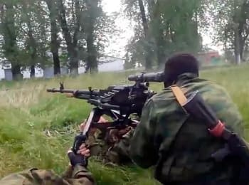 In a network appeared video of attack by terrorists on the checkpoint of the Ukrainian security officers between Kramators'k and Slovyans'k