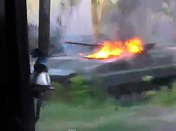 In a network there were video from a place of attack of extremists on the Ukrainian military near Volnovakha of Donetsk region (May 22, 2014)