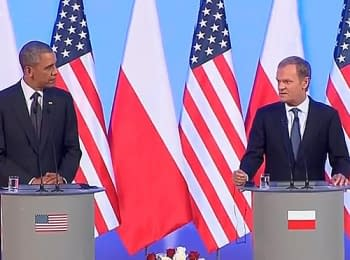 Press conference of the U.S. President Barack Obama and the Prime Minister of Poland Donald Tusk following a meeting in Warsaw, on June 3, 2014