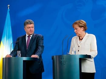 Petro Poroshenko and Angela Merkel concerning events in Ukraine, on June 5, 2014