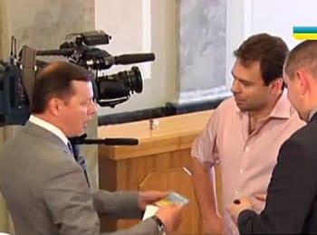 Олег Ляшко вытолкал российского журналиста из здания парламента (полная версия)
