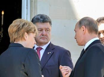 Петр Порошенко встретился с Владимиром Путиным во Франции, 06.06.2014