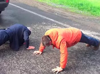 On the Internet there was a video on which the Secretary General of the Council of Europe and the governor of Donets'k region compete in a press-up