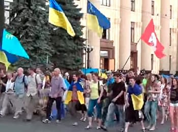 Euromaydan of Kharkiv marched past a Svoboda square in front of Antimaydan, on June 8, 2014