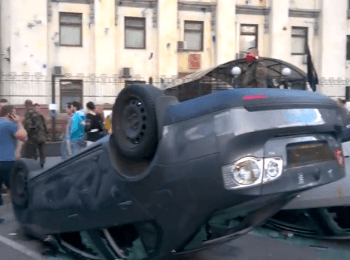 Protests near Embassy of the Russian Federation in Kyiv: The overturned cars (June 14, 2014)