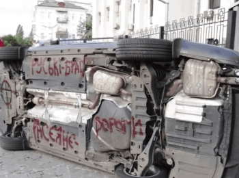 Protests near Embassy of the Russian Federation in Kyiv: Stones, eggs and «brilliant green» (June 14, 2014)