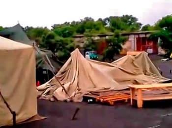 Лагерь пограничников после обстрела боевиками, 19.06.2014