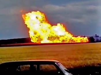 Video from a place the gas pipeline explosion in the Poltava region, on June 18, 2014