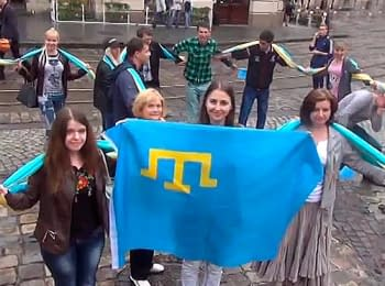 Crimean Tatars in Lviv celebrate Day of a flag, on June 26, 2014
