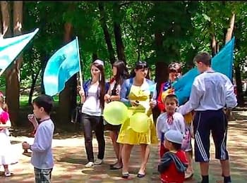 Crimean Tatars in Simferopol celebrated Day of a flag, on June 26, 2014