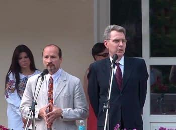 Київ: Посол США в Україні Джеффрі Пайєтт проголошує коротку промову на честь цьогорічного святкування Дня Незалежності США