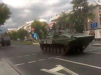 Колонна боевиков. Донецк, 06.07.2014