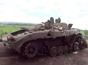БМП террористов на дороге Славянск – Краматорск