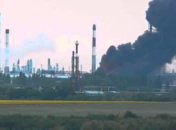 У місті Лисичанськ Луганської області горить нафтопереробний завод, 18.07.2014
