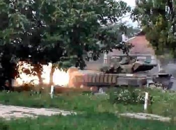 Donets'k: Gunmen shooting near civilian homes, on July 21, 2014 (18+ Explicit language)