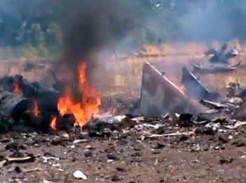 В сети появилось видео сбитого террористами самолета Су-25, 23.07.2014 (18+ нецензурная лексика)