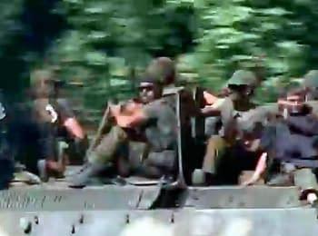 Красный Луч: Колонна военной техники боевиков (27.07.2014)