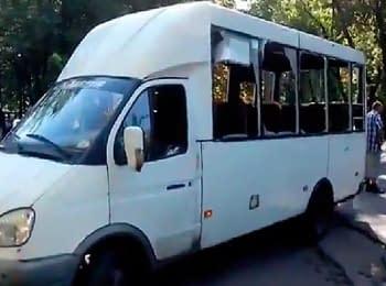 Донецька область: Маршрутне таксі після обстрілу (01.08.2014)