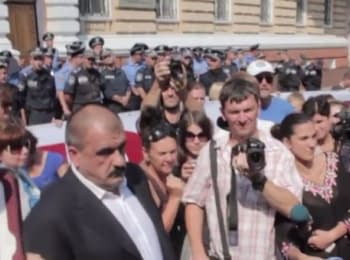 "Picket under the building of the Department of the Ministry of Internal Affairs of Ukraine in Odessa region because of dispersal by police officers of rally of activists near night club ""Ibiza"", on August 4, 2014"