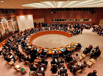 An emergency meeting of the United Nations' Security Council over the humanitarian situation in Ukraine, on August 6, 2014