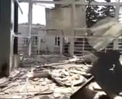 The destroyed airport of Lughans'k after two-month attack by gunmen