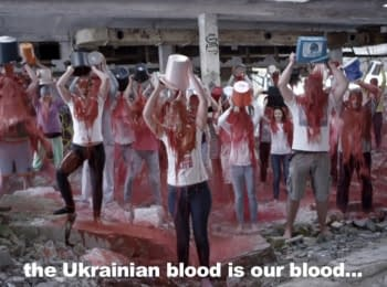 """Blood bucket challenge"" - new flash mob in support of Ukraine with the participation of people from France, Portugal, Romania, Ukraine, and others."