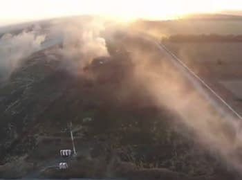 Fighting in the Donetsk airport. Footage with UAV