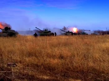Column of terrorists' self-propelled artillery near Donetsk